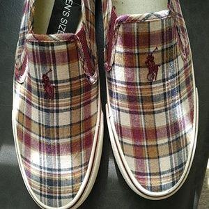 NWT Polo Ralph Lauren Mens Plaid Slip-On Sneakers